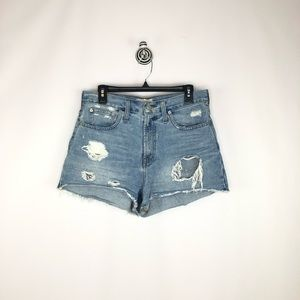 Madewell distressed perfect jean shorts High rise